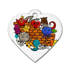 Graffiti Characters Flat Color Concept Cartoon Animals Fruit Abstract Around Brick Wall Vector Illus Dog Tag Heart (two Sides) by Foxymomma