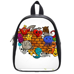 Graffiti Characters Flat Color Concept Cartoon Animals Fruit Abstract Around Brick Wall Vector Illus School Bags (small)  by Foxymomma