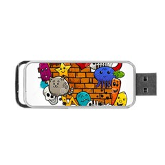 Graffiti Characters Flat Color Concept Cartoon Animals Fruit Abstract Around Brick Wall Vector Illus Portable Usb Flash (two Sides) by Foxymomma