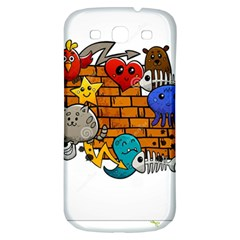 Graffiti Characters Flat Color Concept Cartoon Animals Fruit Abstract Around Brick Wall Vector Illus Samsung Galaxy S3 S Iii Classic Hardshell Back Case by Foxymomma