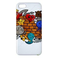 Graffiti Characters Flat Color Concept Cartoon Animals Fruit Abstract Around Brick Wall Vector Illus Apple Iphone 5 Premium Hardshell Case by Foxymomma