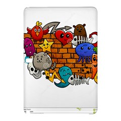 Graffiti Characters Flat Color Concept Cartoon Animals Fruit Abstract Around Brick Wall Vector Illus Samsung Galaxy Tab Pro 12 2 Hardshell Case by Foxymomma
