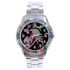 Violet Calligraphic Art Stainless Steel Analogue Watch by Nexatart