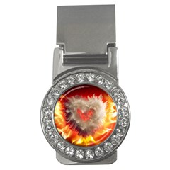 Arts Fire Valentines Day Heart Love Flames Heart Money Clips (CZ)  by Nexatart
