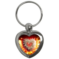 Arts Fire Valentines Day Heart Love Flames Heart Key Chains (heart)  by Nexatart