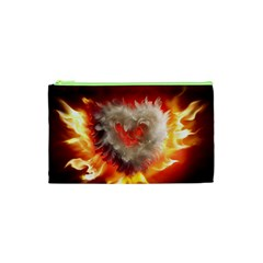 Arts Fire Valentines Day Heart Love Flames Heart Cosmetic Bag (xs) by Nexatart