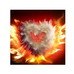 Arts Fire Valentines Day Heart Love Flames Heart Small Satin Scarf (square) by Nexatart