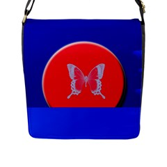 Blue Background Butterflies Frame Flap Messenger Bag (l)  by Nexatart