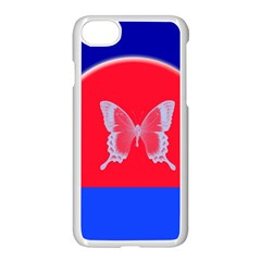 Blue Background Butterflies Frame Apple Iphone 7 Seamless Case (white) by Nexatart