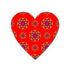 Geometric Circles Seamless Pattern Heart Magnet by Nexatart