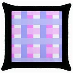 Gingham Checkered Texture Pattern Throw Pillow Case (black) by Nexatart