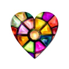 Glass Colorful Stained Glass Heart Magnet by Nexatart
