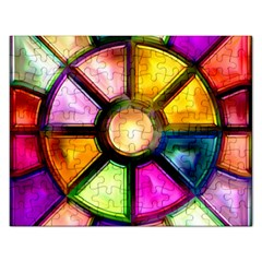 Glass Colorful Stained Glass Rectangular Jigsaw Puzzl by Nexatart