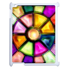 Glass Colorful Stained Glass Apple iPad 2 Case (White) by Nexatart