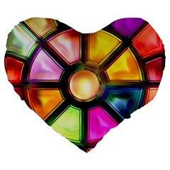 Glass Colorful Stained Glass Large 19  Premium Flano Heart Shape Cushions by Nexatart