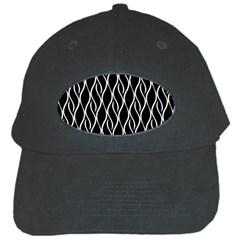 Elegant Black And White Pattern Black Cap by Valentinaart
