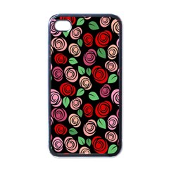 Red And Pink Roses Apple Iphone 4 Case (black) by Valentinaart