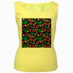Roses Pattern Women s Yellow Tank Top by Valentinaart