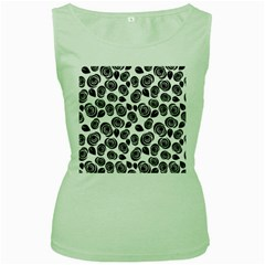 Black Roses Pattern Women s Green Tank Top by Valentinaart