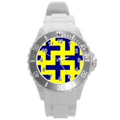 Pattern Blue Yellow Crosses Plus Style Bright Round Plastic Sport Watch (l) by Nexatart