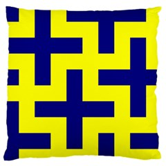Pattern Blue Yellow Crosses Plus Style Bright Large Flano Cushion Case (two Sides) by Nexatart