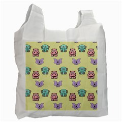 Animals Pastel Children Colorful Recycle Bag (one Side) by Nexatart