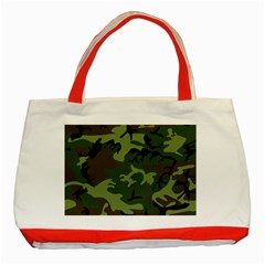 Camouflage Green Brown Black Classic Tote Bag (red) by Nexatart