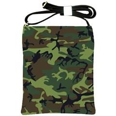 Camouflage Green Brown Black Shoulder Sling Bags by Nexatart