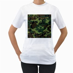 Camouflage Green Brown Black Women s T Shirt (white)  by Nexatart