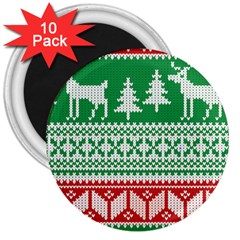 Christmas Jumper Pattern 3  Magnets (10 Pack)  by Nexatart