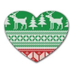 Christmas Jumper Pattern Heart Mousepads by Nexatart