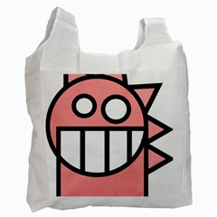 Dragon Head Pink Childish Cartoon Recycle Bag (Two Side)  by Nexatart