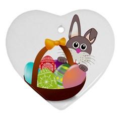 Easter Bunny Eggs Nest Basket Ornament (Heart) by Nexatart