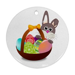 Easter Bunny Eggs Nest Basket Round Ornament (Two Sides) by Nexatart