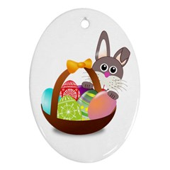 Easter Bunny Eggs Nest Basket Oval Ornament (Two Sides) by Nexatart