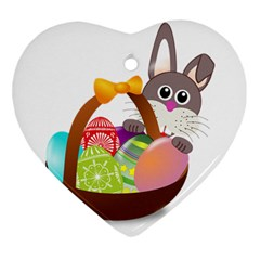 Easter Bunny Eggs Nest Basket Heart Ornament (two Sides) by Nexatart