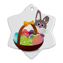 Easter Bunny Eggs Nest Basket Ornament (snowflake) by Nexatart