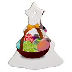Easter Bunny Eggs Nest Basket Christmas Tree Ornament (two Sides) by Nexatart