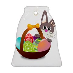 Easter Bunny Eggs Nest Basket Bell Ornament (Two Sides) by Nexatart