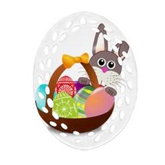 Easter Bunny Eggs Nest Basket Ornament (oval Filigree) by Nexatart