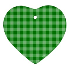 Gingham Background Fabric Texture Heart Ornament (Two Sides)