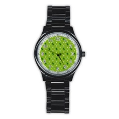 Green Christmas Tree Background Stainless Steel Round Watch by Nexatart