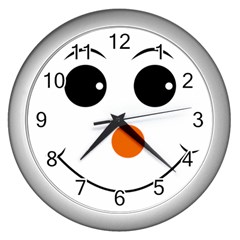 Happy Face With Orange Nose Vector File Wall Clocks (silver)  by Nexatart