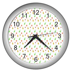 Fruit Pattern Vector Background Wall Clocks (silver)  by Nexatart