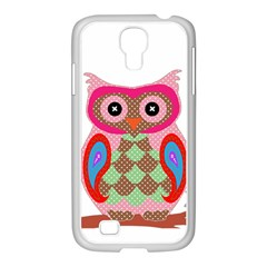 Owl Colorful Patchwork Art Samsung GALAXY S4 I9500/ I9505 Case (White)