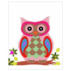 Owl Colorful Patchwork Art Drawstring Bag (Small)