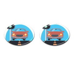 Semaphore Car Road City Traffic Cufflinks (oval) by Nexatart