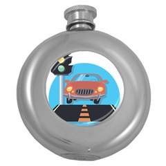 Semaphore Car Road City Traffic Round Hip Flask (5 Oz) by Nexatart