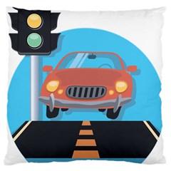 Semaphore Car Road City Traffic Large Cushion Case (two Sides) by Nexatart