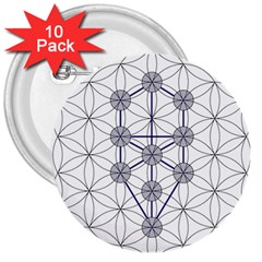 Tree Of Life Flower Of Life Stage 3  Buttons (10 Pack)  by Nexatart
